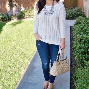 American Eagle Grey Pointelle Cable Knit Sweater